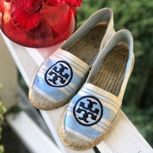 Tory Burch Shoes - Tory Burch Baby Blue and Cream Stripe Espadrilles